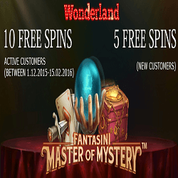 wonderland free spins no deposit