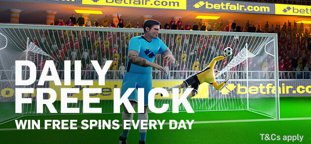 betfair free spins no deposit daily free kick