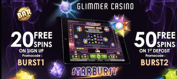 glimmer casino starburst free spins codes