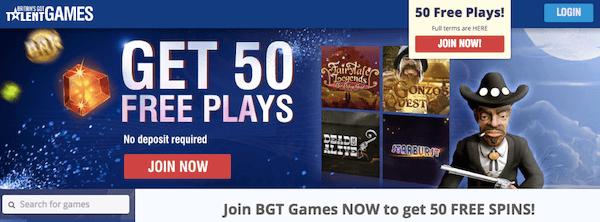 BGT games no deposit free spins