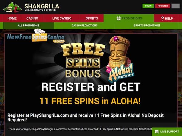 Shangri La Casino no deposit bonus