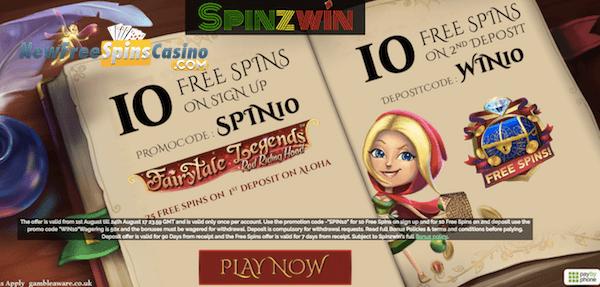 spinzwin casino no deposit on red riding hood