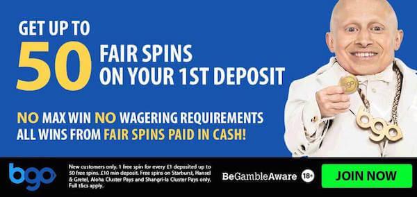 bgo casino free spins no deposit bonus