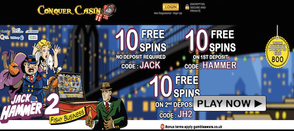 conquer casino exclusive jack hammer free spins no deposit 2017