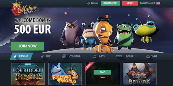 malina casino no deposit exclusive bonus