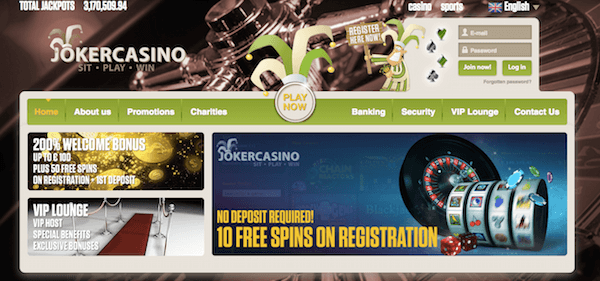 joker casino free spins no deposit bonus