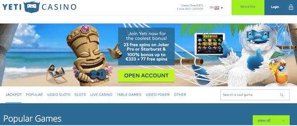 yeti casino no deposit free spins bonus