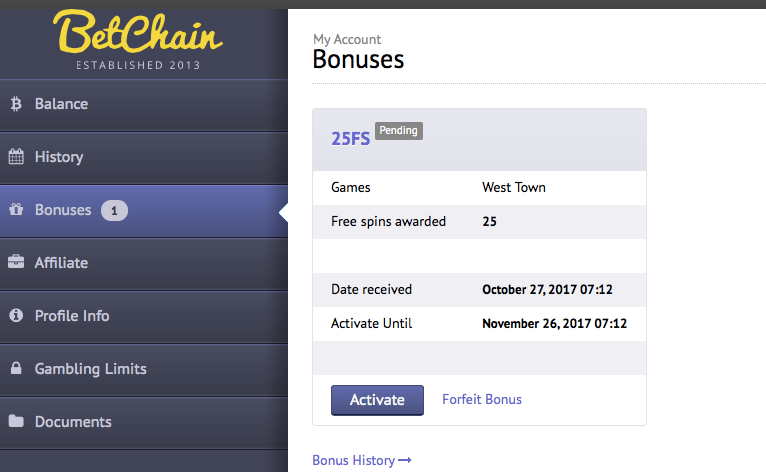 betchain west town no deposit bonus