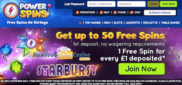 power spins casino no deposit