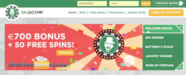 sir jackpot casino bonus
