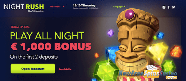 nightrush casino no deposit bonus