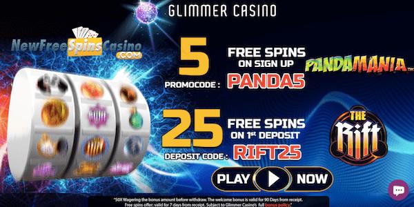 glimmer casino pandamania no deposit bonus