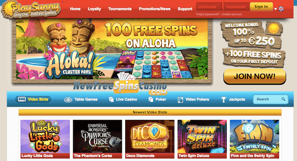 PlaySunny Casino Free Spins Deposit on Aloha Cluster Pays