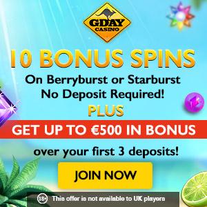 GDay Casino 10 Bonus Spins No Deposit