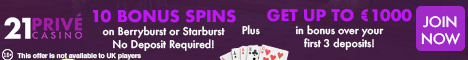 21 Prive Casino 10 Bonus Spins No Deposit