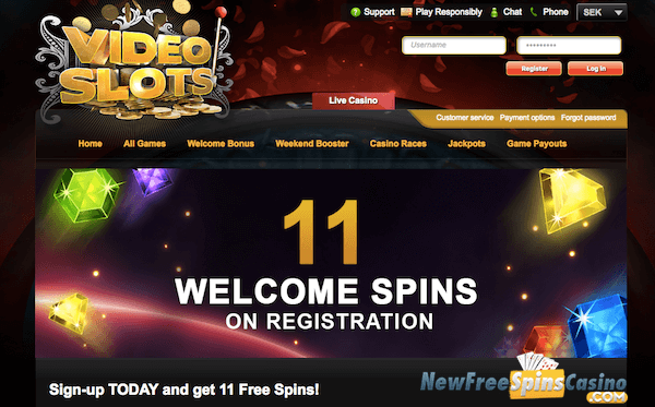Videoslots Casino 11 Welcome Spins